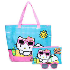 Hello Kitty Girls Pool Beach Tote Bag Set + Sunglasses + Wet suit bag + Pouch