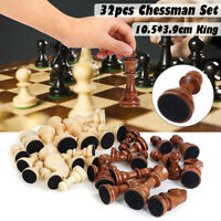 32 Piece Wooden Carved Chess Pieces Hand Crafted Set Large 10.5cm King Size
