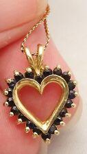 VTG 14K Solid Gold Serpentine Link Chain Necklace 20 Sapphire Pendant Not Scrap