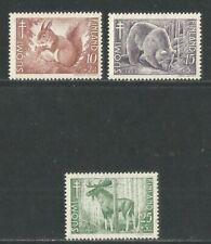 Finland 1953 Local Animals semipostal-Attractive Topical (B120-22) Mnh