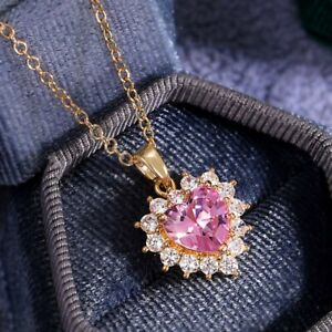 18K Gold Heart Love Necklace Pink Sapphire Women Wedding Party Jewellery Gift