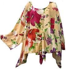 Nwt FUNKY STUFF floral patch hanky rayon TOP BLOUSE 7X 2017 HAWAIIAN COLLECTION
