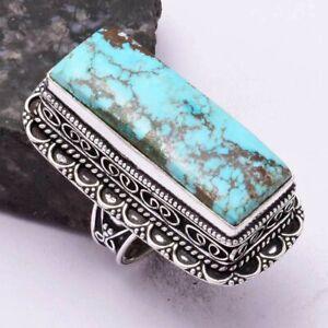 Turquoise Ethnic Handmade Antique Design Ring Jewelry US Size-7.5 AR 42956