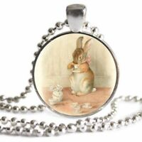 bas3Z BEATRIX POTTER THE MICE AT WORK #3 DOG TAG NECKLACE PENDANT FREE CHAIN