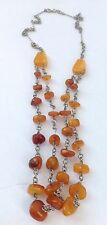 Beautiful vintage handmade Natural Baltic amber pebble Drops necklace 32g