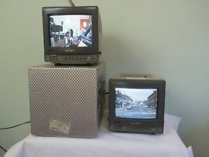 "Sony 9""  Trinitron PVM 9020ME two monitors, one with a flight case"