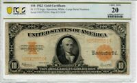 1922 $10 Fr 1173 Large Size GOLD Certificate PCGS VF-20 Horse Blanket Nice 1997