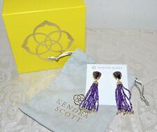 NWT $125 KENDRA SCOTT Blossom Fringe Drop Earrings Amethyst Purple Gold Plated