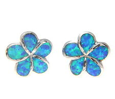 INLAY OPAL 925 STERLING SILVER HAWAIIAN PLUMERIA FLOWER POST STUD EARRINGS 12MM