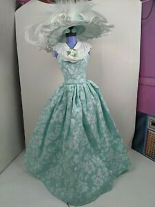 Floral with Lace Barbie Doll Dress Gown Handmade off shoulder aqua teal w hat