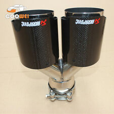 ID:63mm OD:89mm Akrapovic Exhaust Glossy Carbon Fiber Universal Dual Exhaust Tip