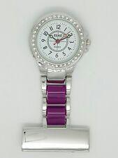 Enfermera esteticistas Fob Watch Diamanté Bisel púrpura F16