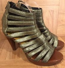 SEXY!❤️ Jeffrey Campbell Marly Gladiator Cage Sandal Heels Gold Leather Sz 8