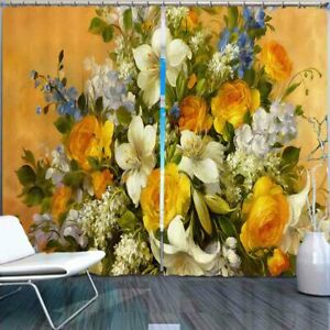 Oil Painting Flowers 3D Curtain Blockout Photo Printing Curtains Drape Fabric