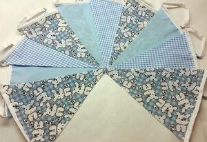 Fabric Bunting Blue Baby Shower Christening Handmade 10ft 3m BLUE single ply