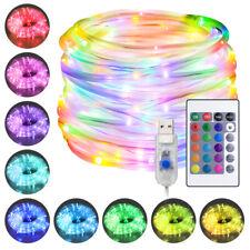 LED Lichterschlauch 10M RGB Lichtschlauch Lichterkette Leiste Innen Außen USB DE
