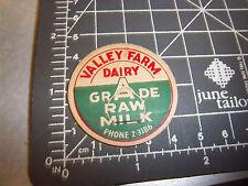 Milk Bottle Cap from Valley Farm Dairy, phone 2-3186, Grade A raw, vintage cap