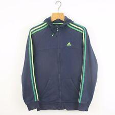 Vintage Adidas Bleu Marine Vert Full Zip Sweat à Capuche Veste | Original Sport | Petit S
