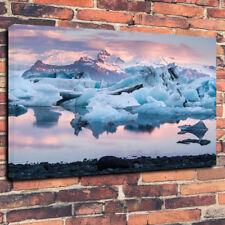 """Tapones de hielo de glaciar de montaña Islandia caja impresa cuadro lienzo A1.30""""x20""""30mm de profundidad"""