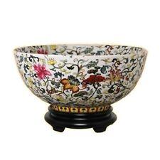 "Chinese Multi Color Floral Motif Porcelain Bowl w Base 14"" Diameter"
