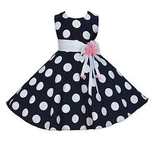 NUEVO niña de Topos Vestido de fiesta en Azul Oscuro Blanco 3 4 5 6 7 8 años
