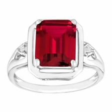 2 3/4 Ct Emerald-cut Created Ruby Ring With Diamonds in Sterling Silver Size 7