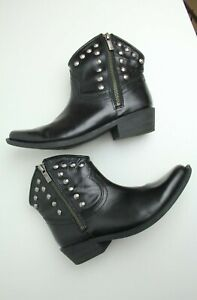 LUCKY BRAND USA LEATHER ANKLE BOOTS  Sz 5 US Women Black- Studded Cowgirl Winter