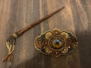 Handmade Guatemalan Beaded Hair Accessory Barrette Clip w/ Wooden Stick Gift