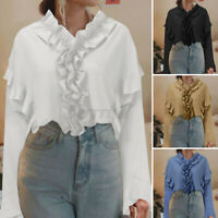 ZANZEA Womens Flare Sleeve Ruffles Collared Shirt Casual Loose Top Tunic Blouse
