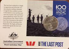 2015 Anzac centenary WW1 the last post   20 cents UNC