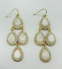 INC INTERNATIONAL CONCEPTS White Stone and Gold tone Drop Earring Msrp $24.50