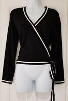 Womens Karen Millen Black White Trim Side Tie Belt Wrap Style Jumper L New.