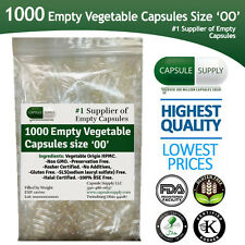 1000 Empty Vegetarian Vegetable size 00  capsules Vcaps Veggie cap Halal/Kosher