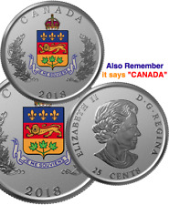 2018 Quebec Heraldic Emblem 25cent Pure Silver Proof Canada Coin: JE ME SOUVIENS