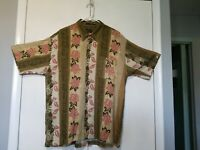 Marc Edwards 100% Rayon Hawaiian Shirt Green Pink Floral Print size XL
