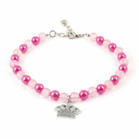 Imitation Pearl Beads Linked Crown Pendant Pet Dog Poodle Collar Necklace Pink L