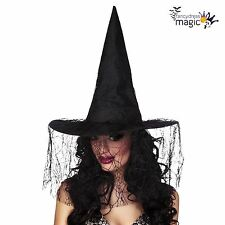New Ladies Deluxe Halloween Black Witch Witches Costume Hat with Spider Web Veil