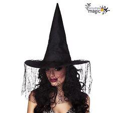 Nuevo Damas Disfraz De Lujo De Halloween Negro Bruja Brujas Sombrero con velo Telaraña