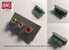 STEREO AUDIO & VIDEO MODULE GREY Mk Logic Plus RCA Triple Audio Modular Socket