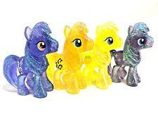 "MLP FiM Glitter Transparent 4 Pony Figure Lot Clydesdale Twilight Royal Riff 2"""