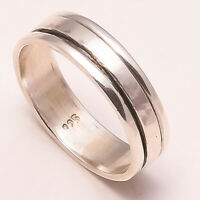 Solid 925 Sterling Silver Spinner Ring Meditation Statement Ring Size V ra140
