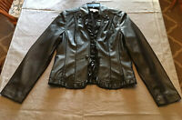Conrad C. Collection washable leather look ruffle front jacket size 8