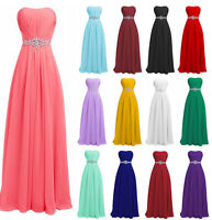 New Formal Long Evening Ball Gown Party Prom Sleeveless Bridesmaid Dresses