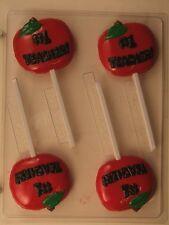 NUMBER 1 TEACHER APPLE LOLLIPOP CLEAR PLASTIC CHOCOLATE CANDY MOLD OVR054