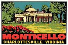 Monticello  VA    Virginia Jefferson Vintage 1950's  Style  Travel Sticker Decal