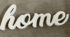 """Wooden Home Decor Sign Word Phrase Large 24"""" White Distresses Shelf Or Wall"""