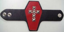 COOL STUFF WRIST CUFF Red Vinyl Coffin+Stud Cross Snap Button Bracelet NEW MERCH
