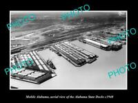 OLD POSTCARD SIZE PHOTO OF MOBILE ALABAMA AERIAL VIEW OF STATE DOCKS c1940