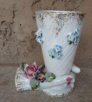 Vintage 1950's LEFTON Hand-Painted ROSES  Porcelain HAND Vase Capodimote Flowers
