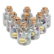 9 Mini Bottles Gems Chips Small Crystal Healing Tumbled Stones Reiki Wicca
